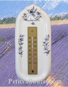 Thermomètre mural décor Tradition Vieux Moustiers bleu