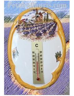 Thermomètre mural Paysage Provençal 2197 bord orange