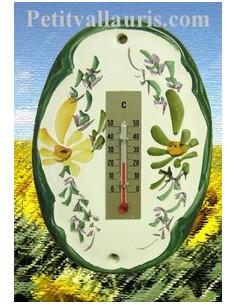 Thermomètre mural en faïence décor Fleuri vert et orange