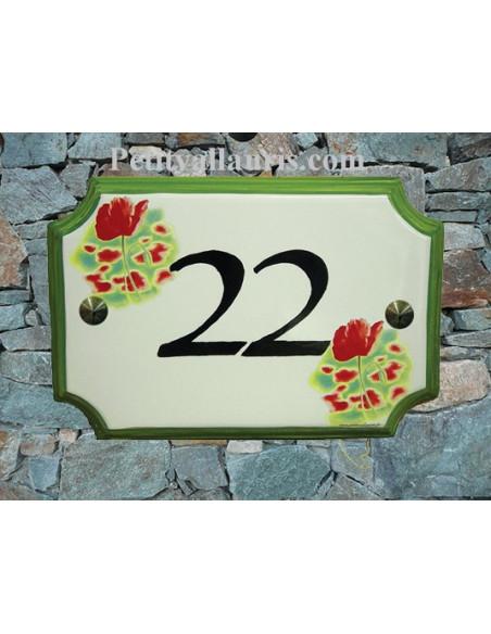 Plaque de Maison en céramique aux angles incurvés motif coquelicot + inscription personnalisée
