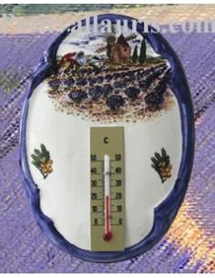 Thermomètre mural ovale Paysage Provençal 2197