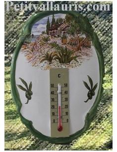 Thermomètre mural ovale Paysage Provençal 2239