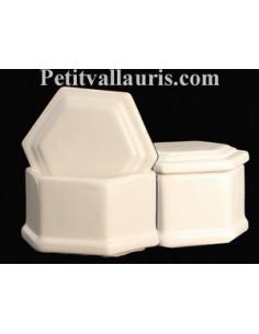 Boîte hexagonale émaillée blanc unie