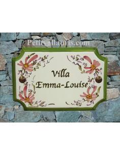 Plaque de Maison rectangle décor fleurs roses inscription personnalisée verte