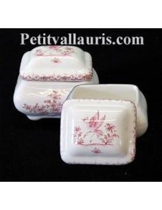 Boîte à bijoux rectangle décor Tradition Vieux Moustiers rose