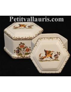 Boîte à bijoux hexagonale décor Tradition Vieux Moustiers polychrome