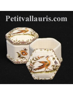 Boîte hexagonale miniature décor Tradition Vieux Moustiers polychrome