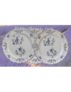 Assiette modèle Louis XV décor Tradition Vieux Moustiers bleu D26.5