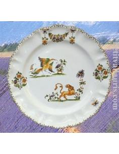 Assiette modèle Louis XV décor Tradition Vieux Moustiers polychrome D26.5