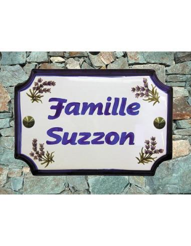 Plaque de Maison rectangle décor brins de lavandes inscription personnalisée bleue