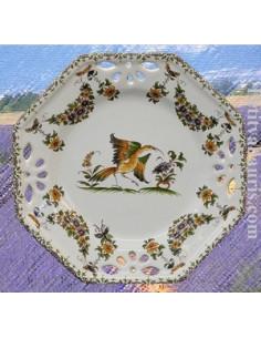 Assiette octogonale ajourée décor Tradition Vieux Moustiers moustiers D21
