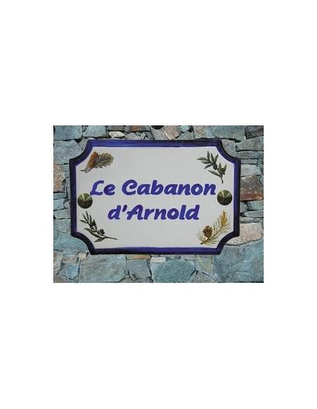 Plaque de Maison en céramique aux angles incurvés motif brins de lavandes,olives,pigne de pin et cigale + personnalisation