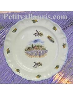 Assiette modèle Louis XV décor Champs de lavande,cigale relief Provence