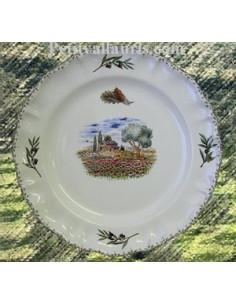 Assiette modèle Louis XV décor Coquelicot et Cabanon Provence