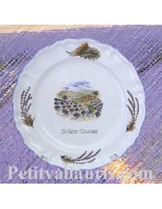 Assiette modèle Louis XV décor Récolte de Lavande texte personnalisable