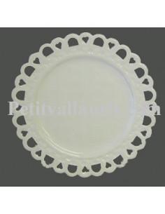 Assiette faïence plate modèle Tournesol émaillée unie blanche