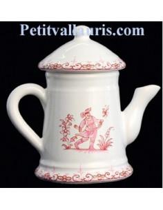 Cafetière en faïence décor Tradition Vieux Moustiers rose