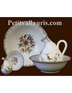 Lave main miniature en faïence décor Tradition Vieux Moustiers poly