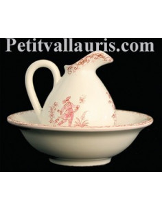 Lave main miniature en faïence décor Tradition Vieux Moustiers rose