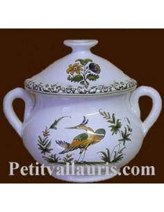 Marmitte ronde miniature en faïence décor Tradition Vieux Moustiers poly