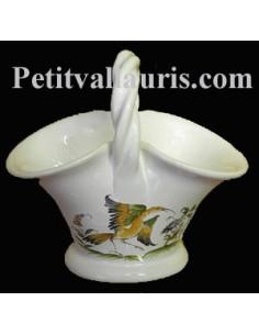 Panier miniature en faïence décor Tradition Vieux Moustiers poly