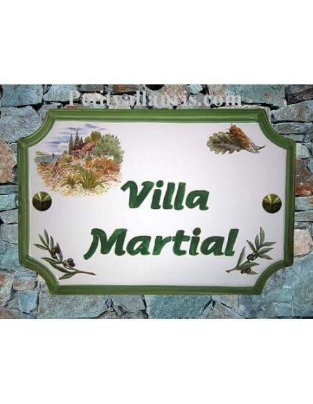 Plaque de Maison en céramique aux angles incurvés motif cabanon,cigale et olivier + inscription personnalisée