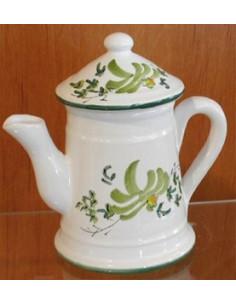 Petite Cafetière miniature décorative en faïence au décor artisanal fleurs vertes
