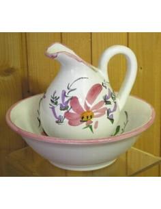Lave main en faïence décor Fleuri rose