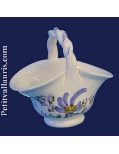Panier miniature en faïence décor Fleuri bleu