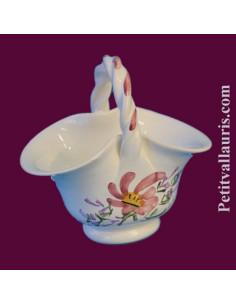Panier miniature en faïence décor Fleuri rose