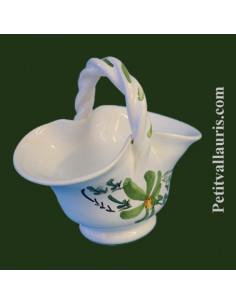 Panier miniature en faïence décor Fleuri vert