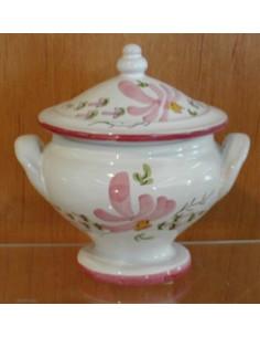 Soupière miniature en faïence décor Fleuri rose