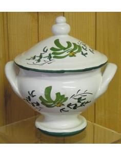 Soupière miniature en faïence décor Fleuri vert