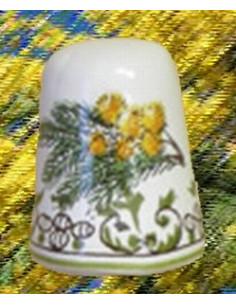 Dé à coudre en faïence décor Brins de mimosas