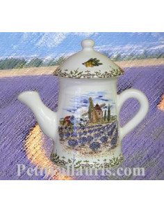 Cafetière miniature en faïence décor Paysage Provençal
