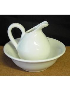 Lave-main miniature en faïence émaillée blanc uni