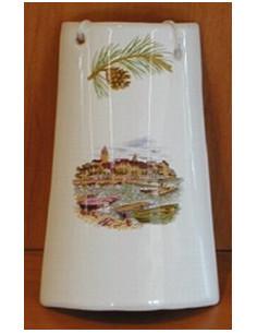 Tuile taille 1 en faïence décor Paysage Provençal