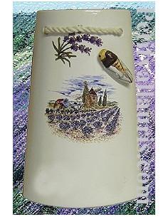 Tuile taille 1 en faïence décor Paysage Provençal & cigale en relief