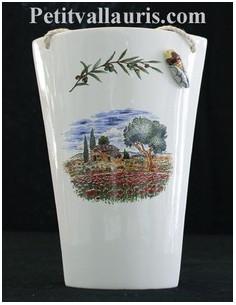 Tuile taille 2 en faïence décor Paysage Provençal & cigale en relief