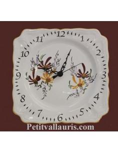 Horloge carrée de style décor Fleuri jaune orangé et pourpre
