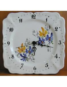 Horloge carrée de style décor Fleuri jaune et bleu