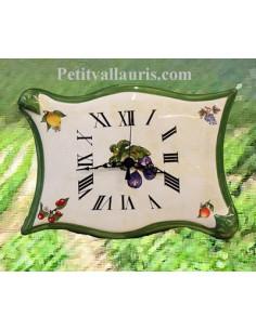 Horloge forme parchemin décor Fruit fond jaune paille
