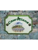 Plaque de Maison rectangle décor récolte des lavandes au centre inscription arrondie personnalisée verte