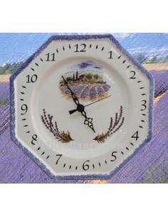 Horloge-Pendule murale en faïence blanche modèle octogonale collection provence décor champ de Lavande et bord bleu