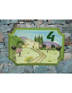 Plaque de Maison en céramique aux angles incurvés motif artisanal bastide et amandiers + inscription personnalisée