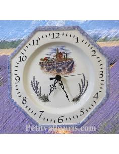 Horloge octogonale décor Moulin et Lavande