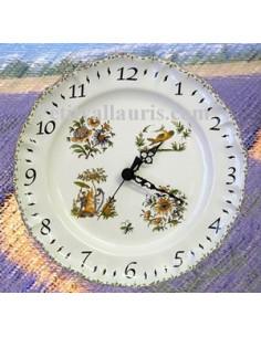 Horloge faïence de style décor Tradition Vieux Moustiers poly