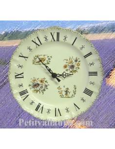 Horloge faïence de style décor Tradition Vieux Moustiers poly chiffres romains