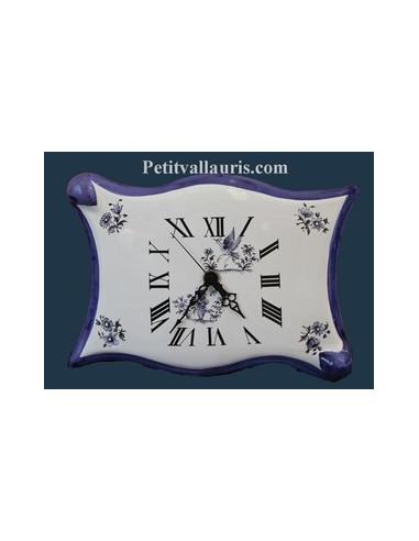 Horloge faïence modèle parchemin décor Tradition Vieux Moustiers bleu