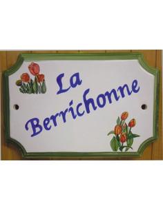 Plaque de Maison rectangle décor et texte personnalisés les tulipes inscription bleue et bord vert